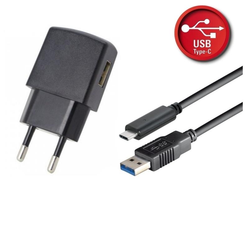 Netzteil USB Set 1A schwarz inkl. USB 3.1 Typ C Lade/ Datenkabel 1,8 m - schwarz