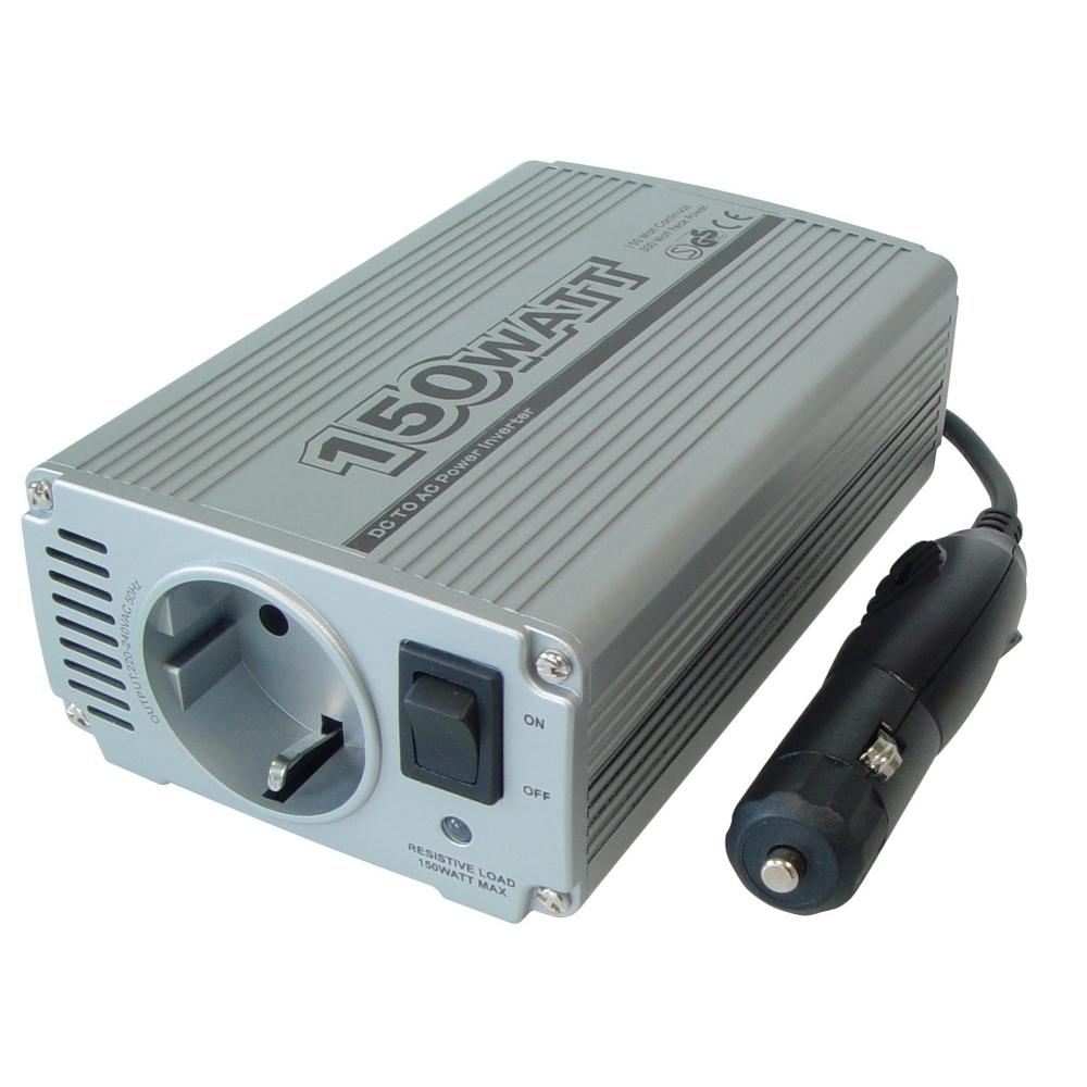 Kfz Spannungswandler DC/AC, 2,1A USB Ausgang, Eingang: 12-13.8V DC, Ausgang: 230V AC, 50Hz, max.150W
