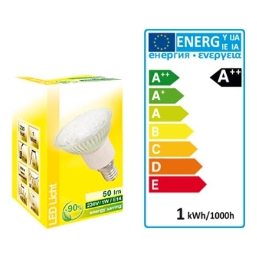 LED Strahler 230 V - E14 Sockel - 1 W mit 18 LED´s, 50 Lumen, warmweiß 3000 K