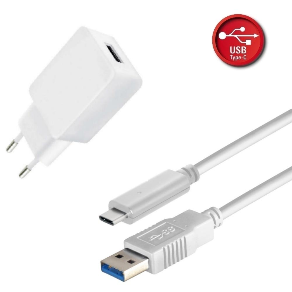 Netzteil USB Set 2.4A inkl. USB Typ C > USB 3.1 (Gen2) Typ A Stecker Lade/ Datenkabel - 1 m - weiß