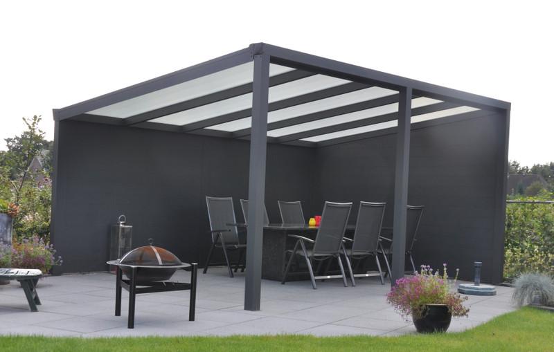 Alu-Terrassendach mit Polycarbonatbedachung Breite: 4 m ...