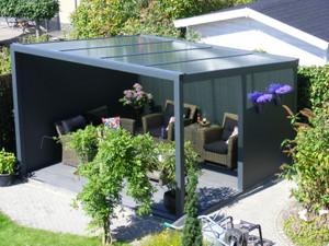 Alu-Terrassendach mit Polycarbonatbedachung  Breite: 4 m - Freistehend – Bild 2
