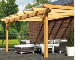Holz-Terrassendach mit Polycarbonatbedachung Breite: 8 m – Bild 1