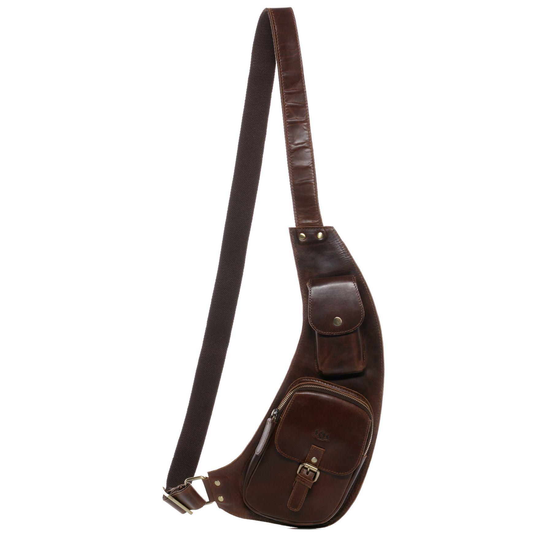 braune Leder Bodybag Bauchtasche