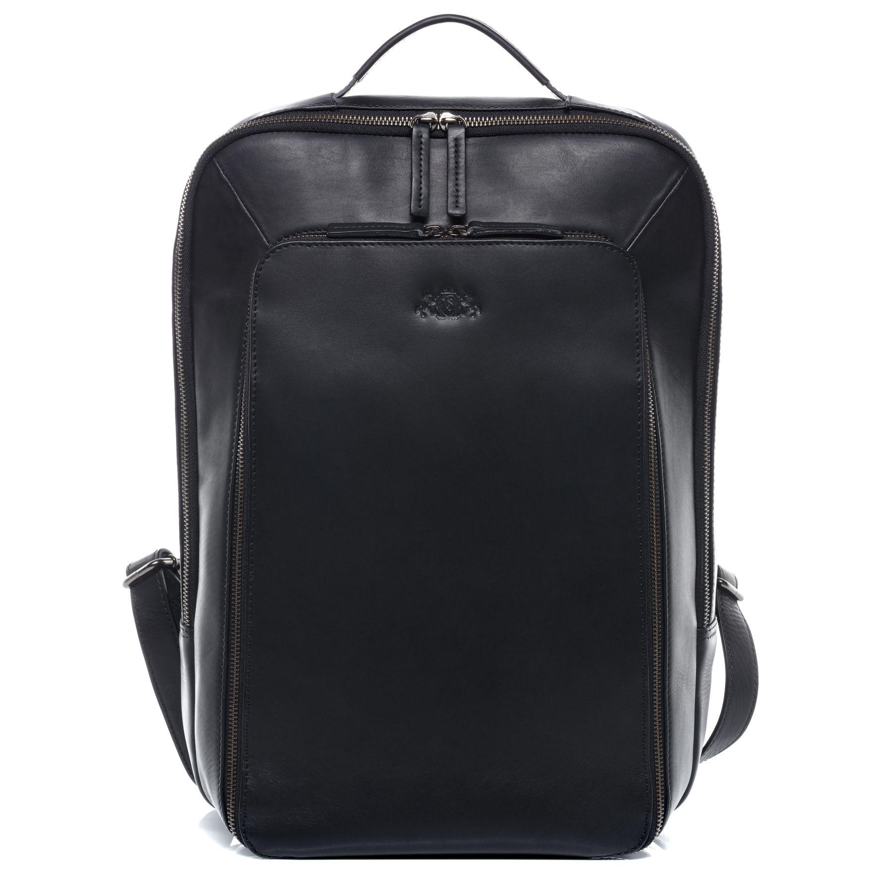 schwarzer Lederrucksack Laptoprucksack
