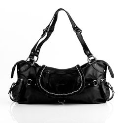 BACCINI tote bag & shoulder bag GISELE -200- handbag WASHED leather - black