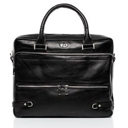 FERGÉ laptop bag BETH 15,4'' business office work school bag  L black Smooth Leather portable computer briefcase shoulder strap  1