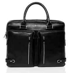 FERGÉ laptop bag BETH 15.4'' business office work school bag  XL black Smooth Leather portable computer briefcase shoulder strap