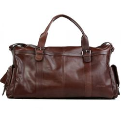 FEYNSINN travel bag carry-all  ASHTON  weekender duffel bag XL brown Smooth Leather overnight duffle bag hold-all