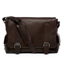 FEYNSINN messenger bag ASHTON 15,4'' business office work school bag  XL brown Smooth Leather courier shoulder cross-body bag