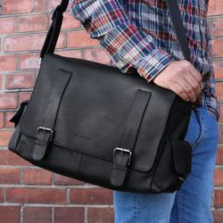 FEYNSINN Messenger bag Glattleder schwarz Laptoptasche Messenger bag 5