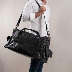FEYNSINN sac de voyage cuir noir fourre-tout besace week-end sac sport bagages cabine à main 5