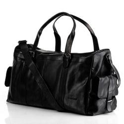 FEYNSINN sac de voyage cuir noir fourre-tout besace week-end sac sport bagages cabine à main 2