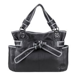 BACCINI shoulder bag BOW -116- handbag WASHED leather - black