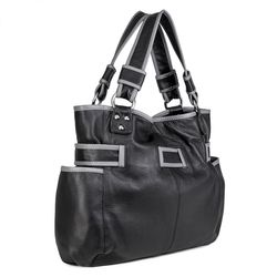 "BACCINI leather & canvas drawstring bag BOW  bucket bag ""gym style"" M black Smooth Leather draw-string backpack  3"