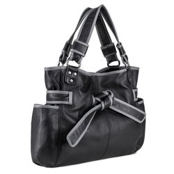 "BACCINI leather & canvas drawstring bag BOW  bucket bag ""gym style"" M black Smooth Leather draw-string backpack  2"