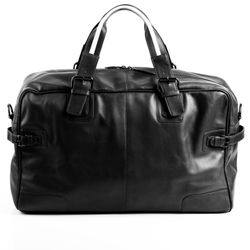 BACCINI travel bag carry-all  ROBERTO  weekender duffel bag L black Smooth Leather overnight duffle bag hold-all