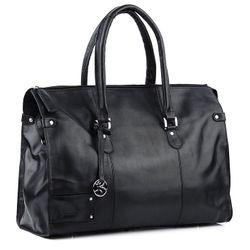 BACCINI travel bag LUCA -1- weekender SMOOTH leather - black