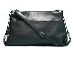 BACCINI sac à bandoulière  cuir noir sacoche sangle besace sac porté épaule 7