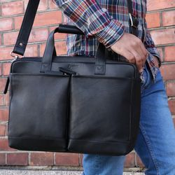 BACCINI laptop bag MARCO -9- business bag SMOOTH leather - black