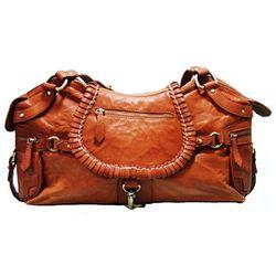 BACCINI Handtasche mit langen Henkeln GISELE Schultertasche medium gewaschenes Schafsleder hellbraun-cognac Handtasche damen