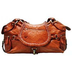 BACCINI tote bag & shoulder bag GISELE -200- handbag WASHED leather - tan-cognac
