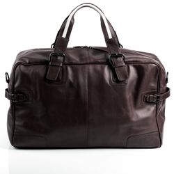 BACCINI travel bag carry-all  ROBERTO  weekender duffel bag L brown Smooth Leather overnight duffle bag hold-all