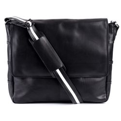BACCINI messenger bag ROBERTO -4- shoulder bag SMOOTH leather - black