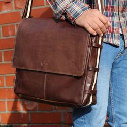 BACCINI messenger bag ROBERTO 15'' business office work school bag  L brown Smooth Leather courier shoulder cross-body bag  5