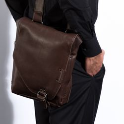 BACCINI messenger bag BRIZIO -97- shoulder bag CRUMPLY leather - brown-crumply 4