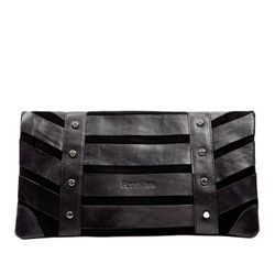 FEYNSINN clutch SARAH  evening bag L black Suede  baguette purse
