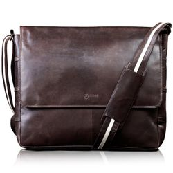 BACCINI messenger bag ROBERTO -4- shoulder bag CRUMPLY leather - brown-crumply