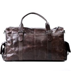 FEYNSINN travel bag ASHTON -105- weekender CRUMPLY leather - brown-crumply
