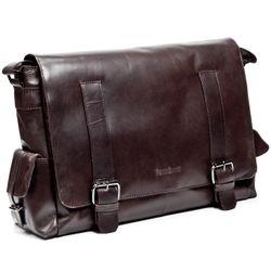FEYNSINN messenger bag ASHTON 15,4'' business office work school bag  XL brown Smooth Leather courier shoulder cross-body bag  2