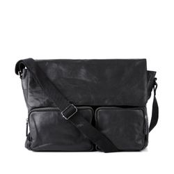 FEYNSINN messenger bag LAURANCE -118- shoulder bag WASHED leather - black