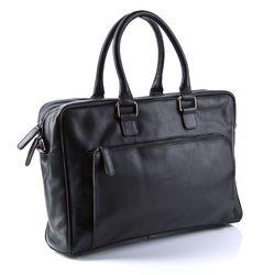 BACCINI sacoche ordinateur portable cuir noir sac porte-document en bandoulière sac messager école etudiante travail 2