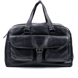BACCINI travel bag DAVE -179- weekender SMOOTH leather - black