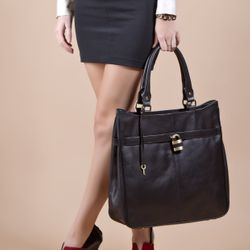 BACCINI tote bag & shoulder bag PARIS -196- handbag SMOOTH leather - black 5