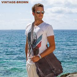 FEYNSINN messenger bag ASHTON 13'' shoulder bag XL brown Smooth Leather cross-body bag  8