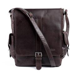FEYNSINN messenger bag ASHTON 13'' shoulder bag XL brown Smooth Leather cross-body bag  3