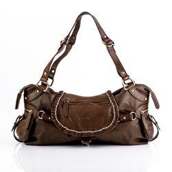 BACCINI Handtasche mit langen Henkeln GISELE Schultertasche medium gewaschenes Schafsleder braun Handtasche damen