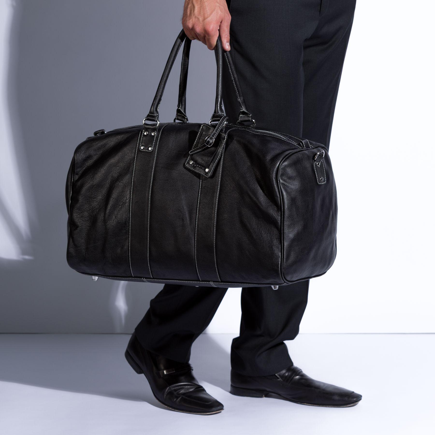e961b6f85278 BACCINI travel bag holdall Nappa Leather JACKSON black weekender ...