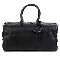 BACCINI travel bag carry-all  TOBY  weekender duffel bag XL black Smooth Leather overnight duffle bag hold-all