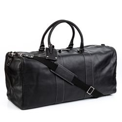 BACCINI travel bag carry-all  TOBY  weekender duffel bag XXL black Smooth Leather overnight duffle bag hold-all  4