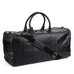 BACCINI travel bag carry-all  TOBY  weekender duffel bag XXL black Smooth Leather overnight duffle bag hold-all