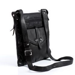 BACCINI sac à bandoulière  cuir noir sacoche sangle besace sac porté épaule 2
