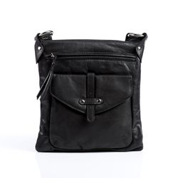 BACCINI cross-body bag SUE  leather bag with shoulder strap S black Smooth Leather shoulder bag