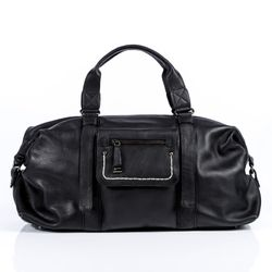 BACCINI travel bag carry-all  EDITH  weekender duffel bag M black Smooth Leather overnight duffle bag hold-all
