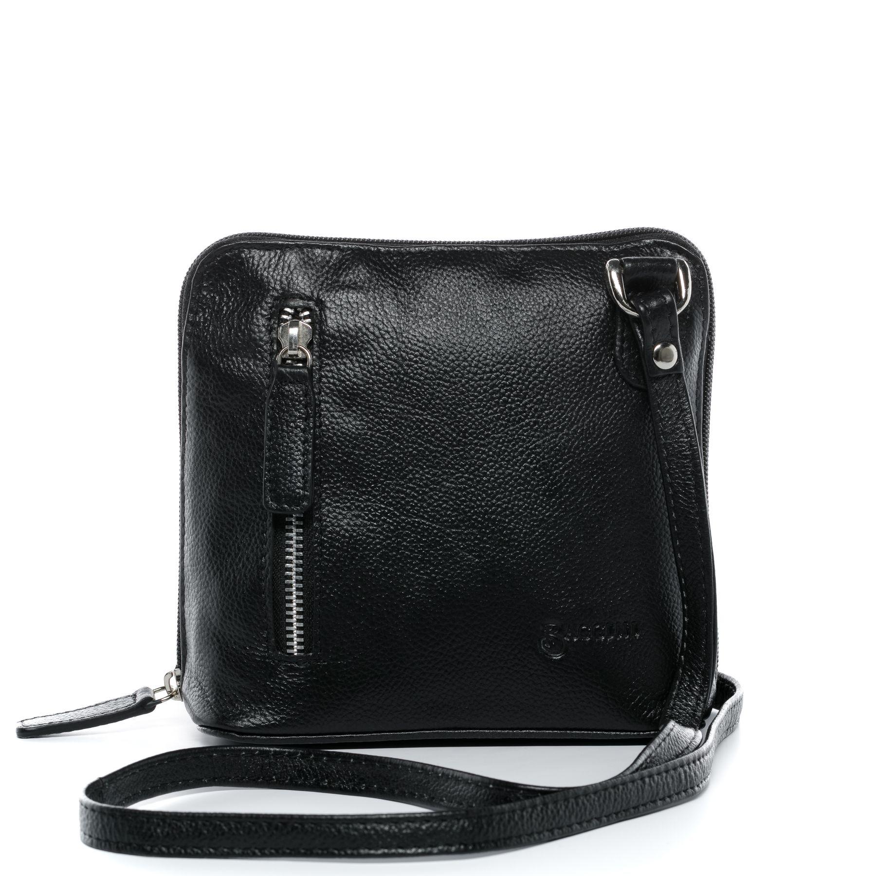 BACCINI Umhängetasche CYNTHIA - Handtasche Schultergurt S Leder schwarz  Schultertasche