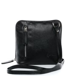 BACCINI cross-body bag CYNTHIA  leather bag with shoulder strap S black Smooth Leather shoulder bag